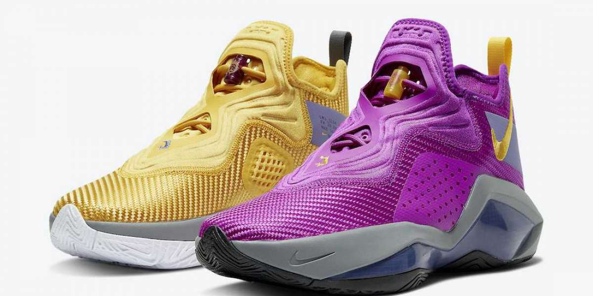 "CK6047-500 Nike LeBron Soldier 14 ""Lakers"" Basketball Shoes"
